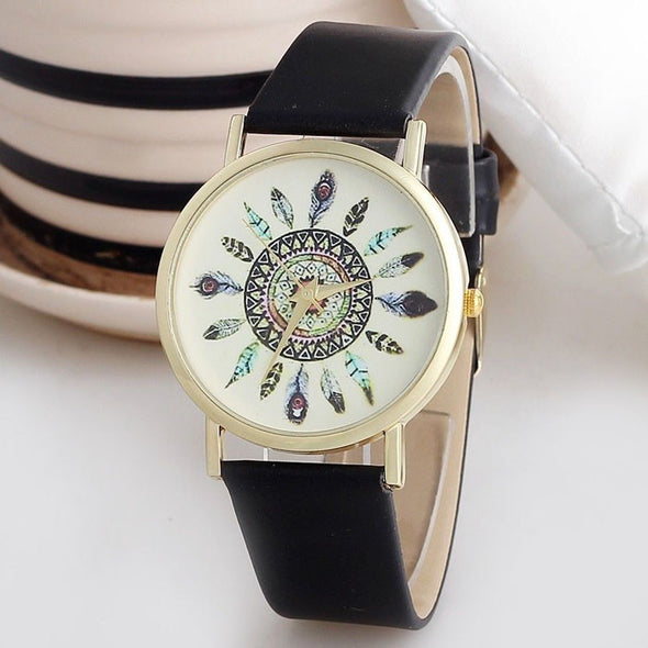 Vintage Feather Dial Leather Band Quartz Analog Unique Wrist Watches - Cosplay Infinity
