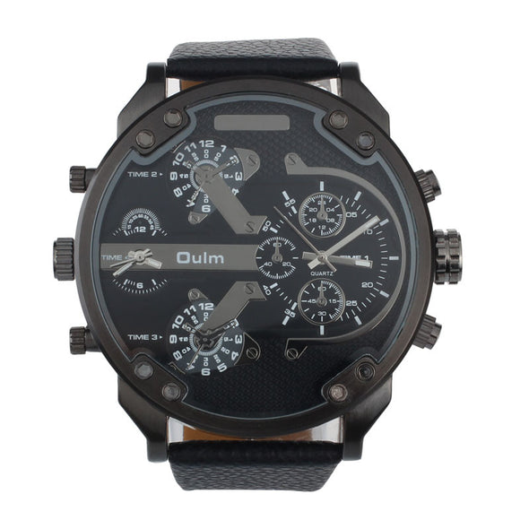Luxury Military Army Dual Time Quartz Large Dial Wrist Watch Oulm - Cosplay Infinity
