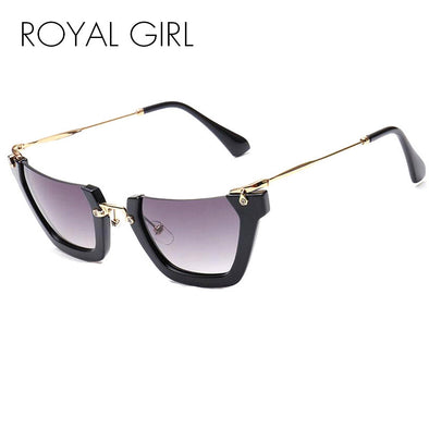 Unique Semi Rimless Women Sunglasses Chic Retro Gradient Shades - Cosplay Infinity