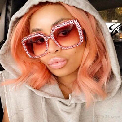 Crystal Rim Women Sunglasses Retro Brand Designer Square Oversized Sunglasses - Cosplay Infinity