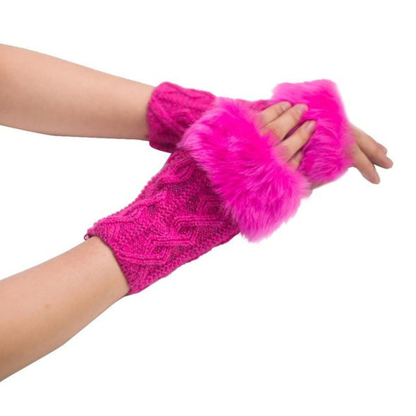 Feitong Gloves Women Girl Warm Faux Rabbit Fur Knitted Wrist Fingerless - Cosplay Infinity