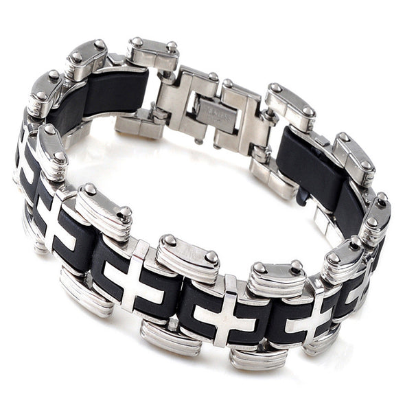 Men Silver Cross Stainless Steel Black Rubber Bracelet Bangle Wristband - Cosplay Infinity