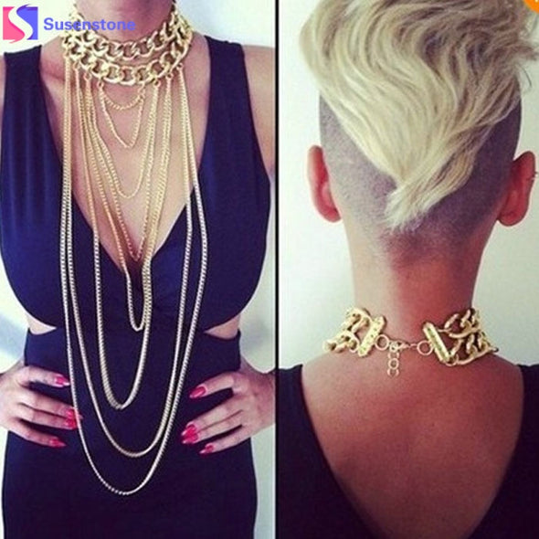 New Fashion Boho Punk Shiny Gold Neck Necklace Tassel Body Jewelry Necklace Cosplay - Cosplay Infinity
