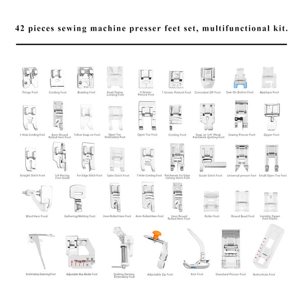 42pcs Sewing Machine Presser Foot Set Accessories for Brother Singer - Cosplay Infinity