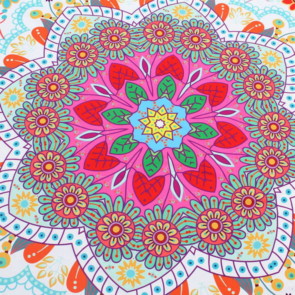 Lotus Hippie Round Tapestry Flowers Beach Throw Cushion Towel - Cosplay Infinity