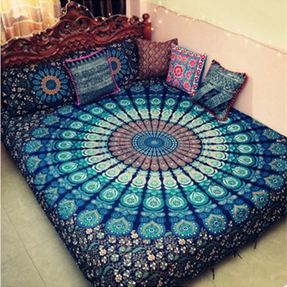 Indian Mandala Tapestry Hippie Wall Hanging Bohemian Bedspread Blanket Cloak Coverup - Cosplay Infinity