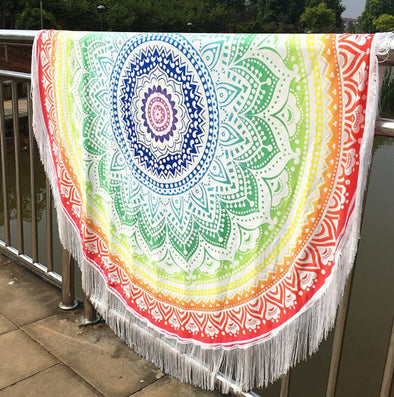 Round Hippie Tassel Tapestry Beach Throw Mandala Towel Yoga Mat Bohemian Blanket - Cosplay Infinity
