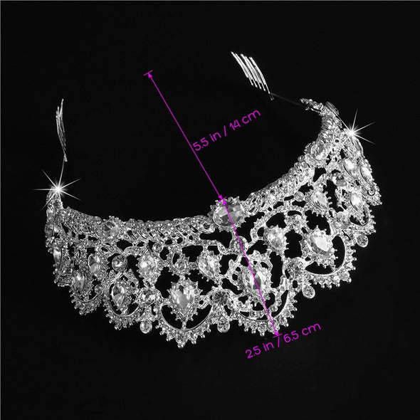 Bridal Headpiece Crown Bling Crystal Queen Tiara with Side Comb - Cosplay Infinity