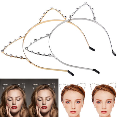 2pcs Women's Cat Ear Headbands Hairband Rhinestone Crystal - Cosplay Infinity