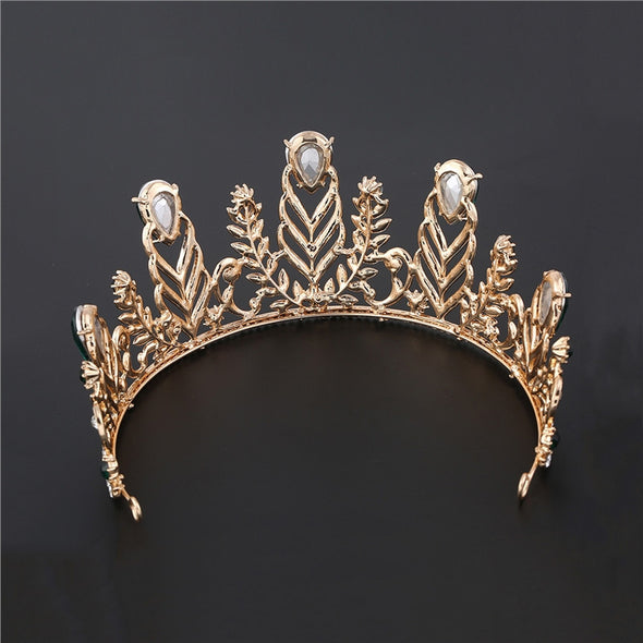 Wedding Bridal Baroque Feather Rhinestone Decorated Crown Hairband - Cosplay Infinity