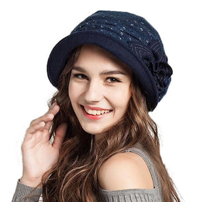 New Winter French Beret Hat Blue Orange Camel Elegant Roll Up Flower Foldable Berets - Cosplay Infinity