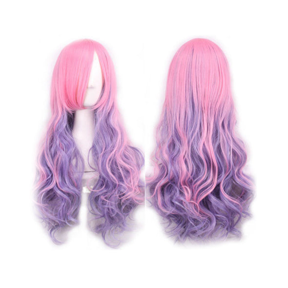 Multicolor Long Wavy Wig Costumes Cosplay Curly Wig for Women Girls (Pink & Purple) Dragon Con Burning Man Fantasy - Cosplay Infinity