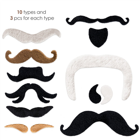 PBPBOX 30 PCS Self Adhesive Fake Mustaches Novelty Costume Party - Cosplay Infinity