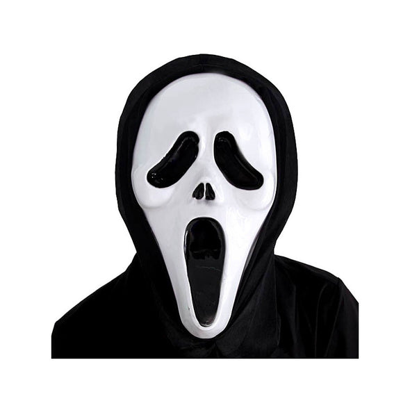 Big Mouth Full White Mask Black Hood Costume Skull Ghost Scary - Cosplay Infinity
