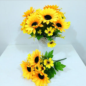 LOT 10  Sunflower Artificial Flower Home Wedding Floral Decoration Costume Cosplay Crafts Headdress - Cosplay Infinity