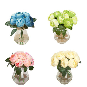 ONE Bouquet 6 Heads Artificial Peony Silk Flower Leaf Home Wedding Party Decor - Cosplay Infinity