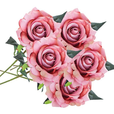 5 Pcs Artificial Silk Flowers Rose Flower Bouquet Floral Crafts - Cosplay Infinity