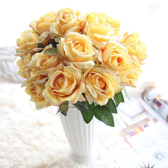 Seven Heads Artificial Silk Roses Flowers Bridal Wedding Costume - Cosplay Infinity