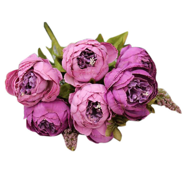 One Bouquet 8 Heads Artificial Peony Silk Flower Leaf - Cosplay Infinity