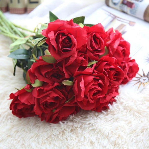 Artificial Silk Roses Flower Bridal Bouquet Crafts Costumes Headdress - Cosplay Infinity