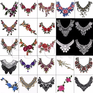 One Embroidered Floral Lace Neckline Trim Neck Collar Sewing Applique - Cosplay Infinity
