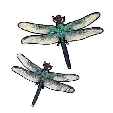 Lot TWO Top Grand DIY New Color Dragonfly Collar Sew ON Patch Applique - Cosplay Infinity