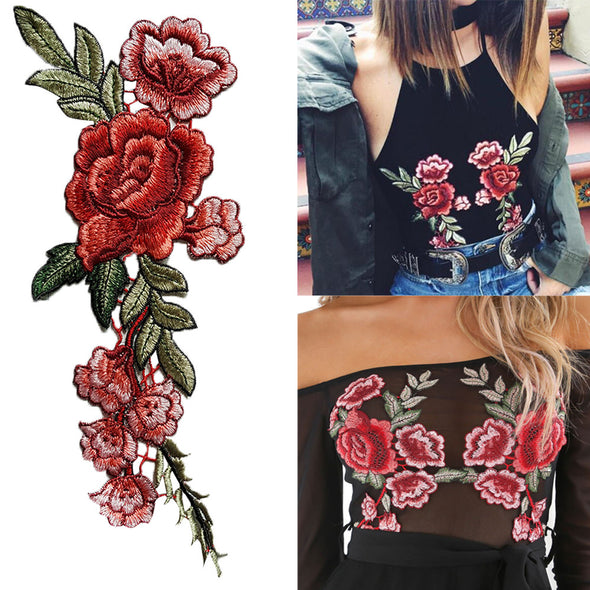 Flower Patches 2PC DIY Embroidered Roses Floral Collar Sew Patch Applique - Cosplay Infinity
