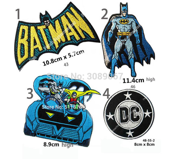 "Set of Four 4.3"" Batman Superman DC Comic LOGO Gift Promo Embroidered Movie TV Series Applique Sew On Iron On Patch - Cosplay Infinity"
