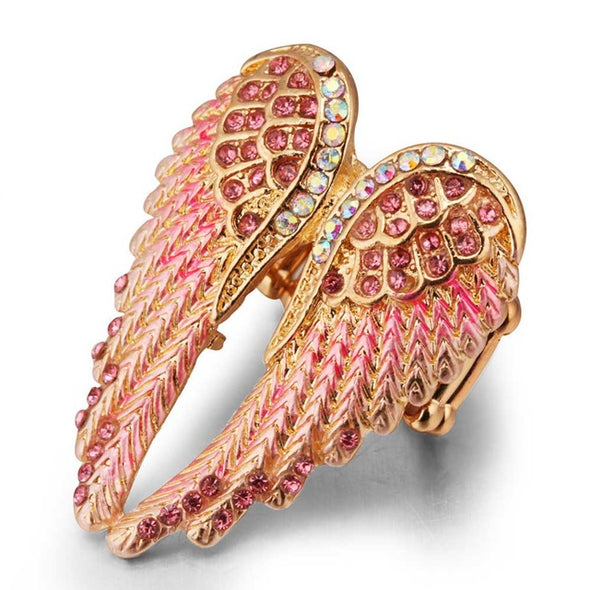 Jieyue Jewelry Hot Angel Wings Stretch Ring Crystal - Cosplay Infinity