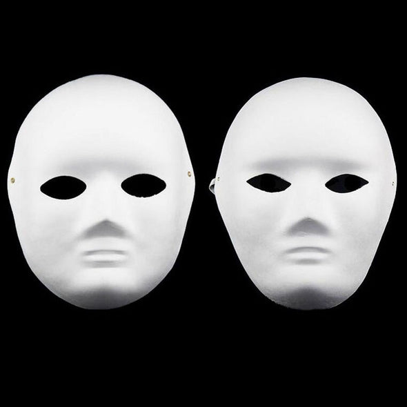 LOT 100 DIY Unpainted Plaster Covered Paper Pulp Blank Mask Female Male Masks - Cosplay Infinity
