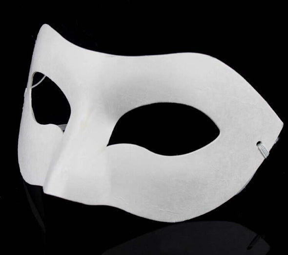 Lot 20 Zorro Mask White Unpainted Blank Paper Pulp Mask Half Face - Cosplay Infinity