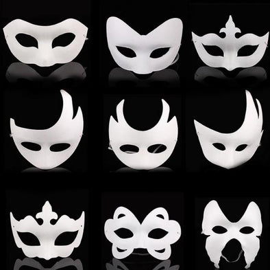 Lot 100 Blank White Masquerade Mask Kids Adults Cosplay Mardi Gras DIY Masks Halloween - Cosplay Infinity