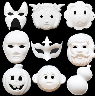 Lot of 25 Pieces Blank White Masquerade Masks Kids Adults Cosplay - Cosplay Infinity