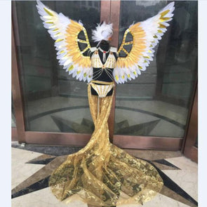 Stage Shows Feather Angel Wings Costumes for Girls pink red gold green Dance - Cosplay Infinity
