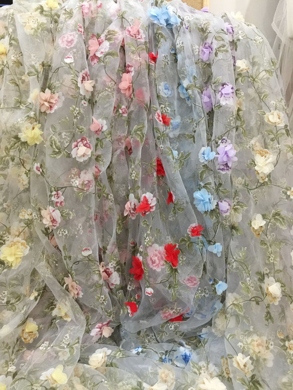 5Yards/Lot 3D Embroidery Mesh Net Fabric African Lace Flowers - Cosplay Infinity