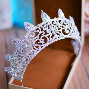 Luxurious Micro Paved Full Cubic Zircon Crown CZ Bridal Headpiece Wedding Hair Accessories Queen Cosplay