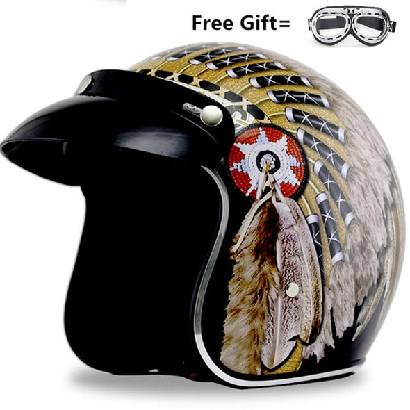 Native American Harley Motorcycle Helmets half face open face Helmet DOT Approved - Cosplay Infinity