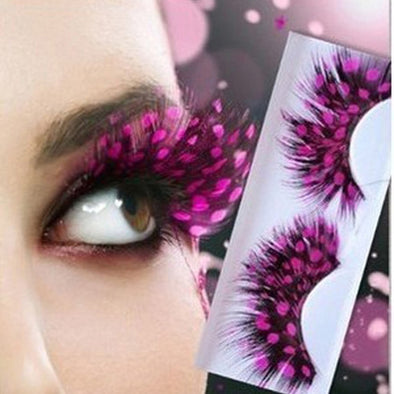 Pink Dot Feather False Eyelashes Natural Colorful Eye Lashes Extensions Long Lash Wimper Extensions