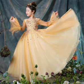 Luxury Princess Sweet Flower Gold Ball Gown Sequined Dress Holy Communion Dress Pageant Wedding Birthday