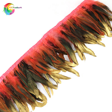 "Dipped gold dyed Natural rooster feather fringe trim Height 6-8"" Feathers Ribbon Cosplay - Cosplay Infinity"
