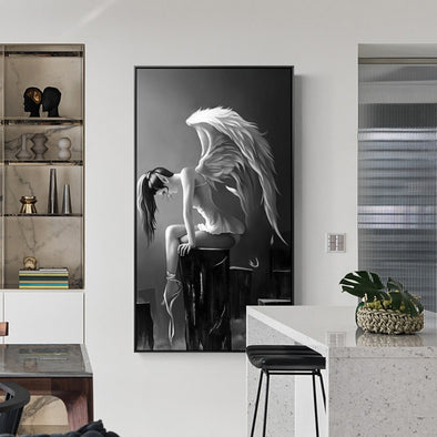 Modern Black And White Anime Poster Angel Wings Canvas Painting Art Pictures for Living Room Girls Room Child Bedroom Wall Decor