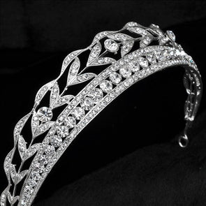 Romantic Wedding Bridal Veil Tiara Crown Crystal Boutique Silver Plated