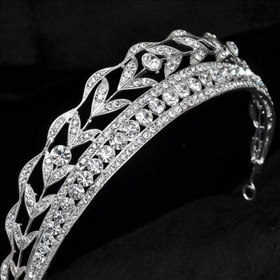 Romantic Wedding Bridal Veil Tiara Crown Crystal Boutique Silver Plated - Cosplay Infinity