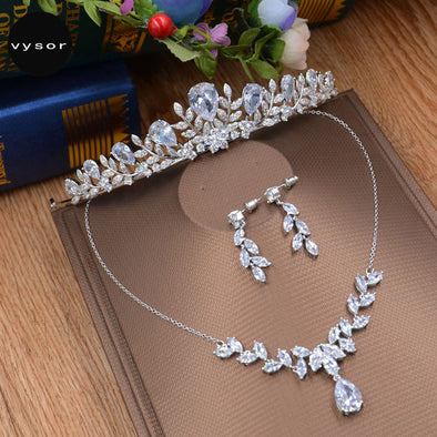 Cubic Zirconia Wedding Jewelry Sets Bridal Tiara Marquise-Cut Necklace Earrings Crown Sets - Cosplay Infinity