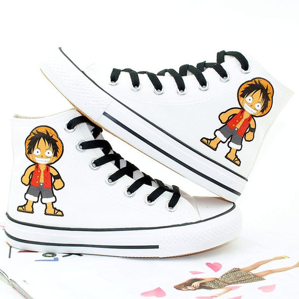 Anime Cosplay Canvas Shoes Monkey D Luffy Hand-Painted Sneakers - Cosplay Infinity