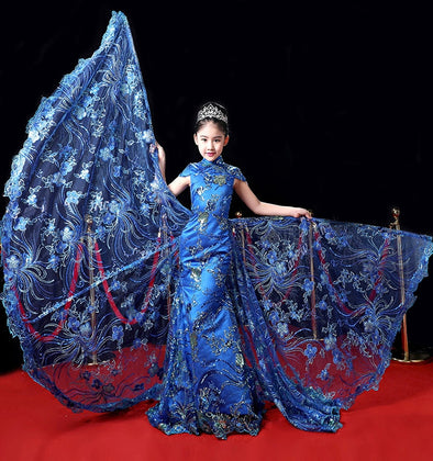 Luxury Custom Aristocratic Princess Evening Dress Stage Performances Flowers Children's Wedding Dress Carnival Costume