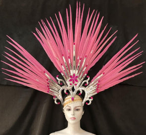 Exquisite Headdress Pink Feathers Cosplay Crown Dance Shows - Cosplay Infinity
