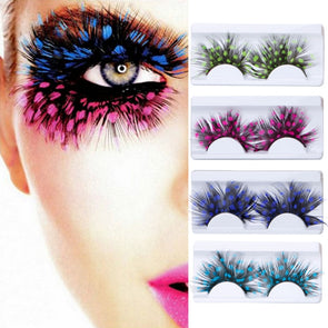 1 Pair False Eyelashes Exaggeration Feather Cosmetic Party Colorful Eye Lashes Cosplay