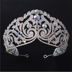 luxury big crown tiaras pageant baroque style rhinestone wedding hair accessories cosplay