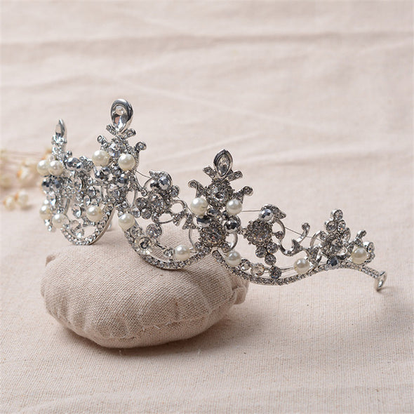 Baroque Style Pearl Cubic Zirconia Rhinestone Crown Tiara Wedding Hair Accessories Bridal Jewelry - Cosplay Infinity